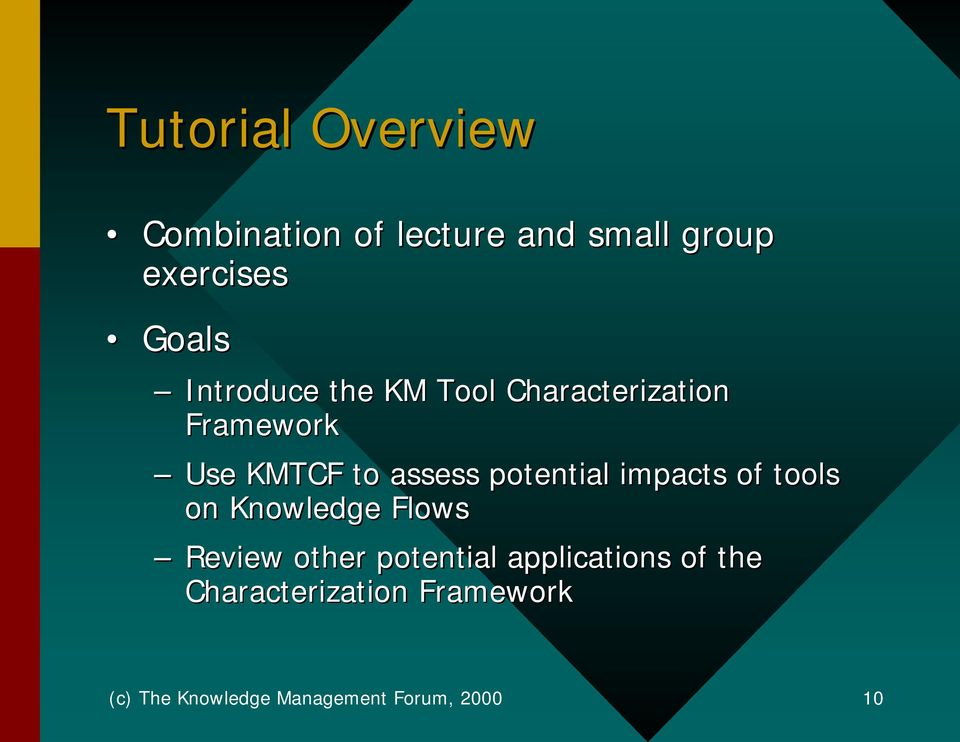 potential impacts of tools on Knowledge Flows Review other potential