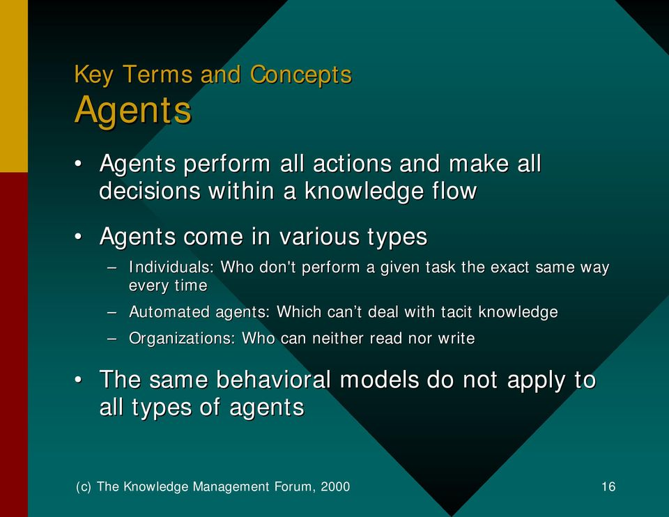 Automated agents: Which can t deal with tacit knowledge Organizations: Who can neither read nor write