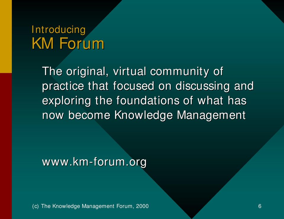 foundations of what has now become Knowledge Management