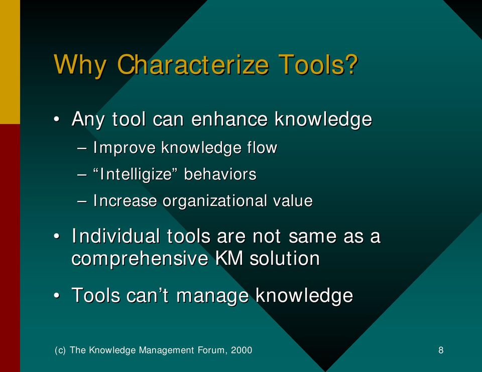 behaviors Increase organizational value Individual tools are not