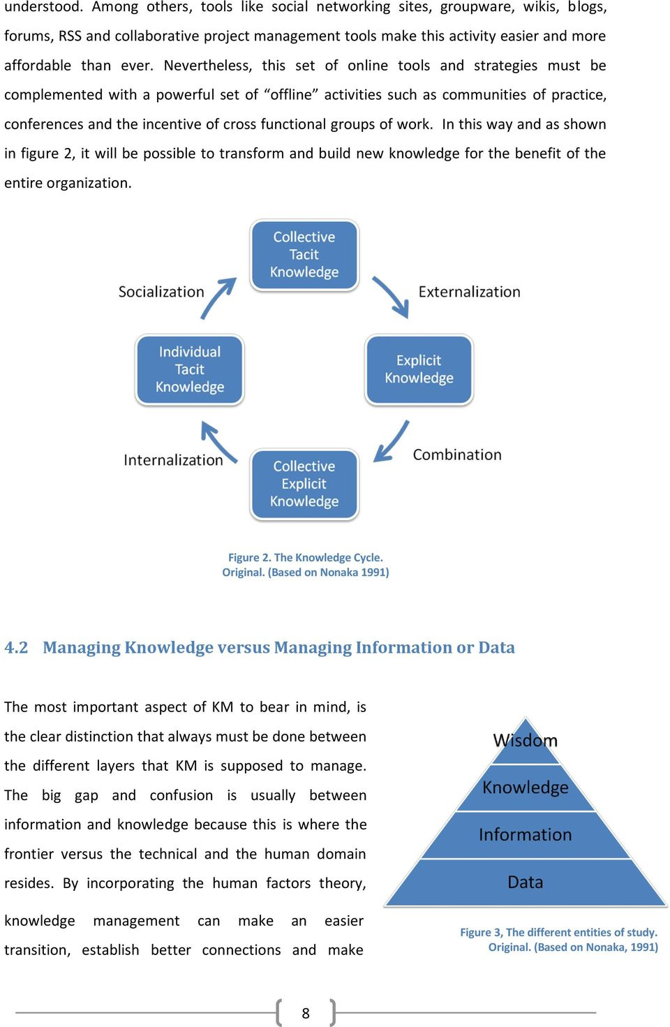 groups of work. In this way and as shown in figure 2, it will be possible to transform and build new knowledge for the benefit of the entire organization. Figure 2. The Knowledge Cycle. Original.