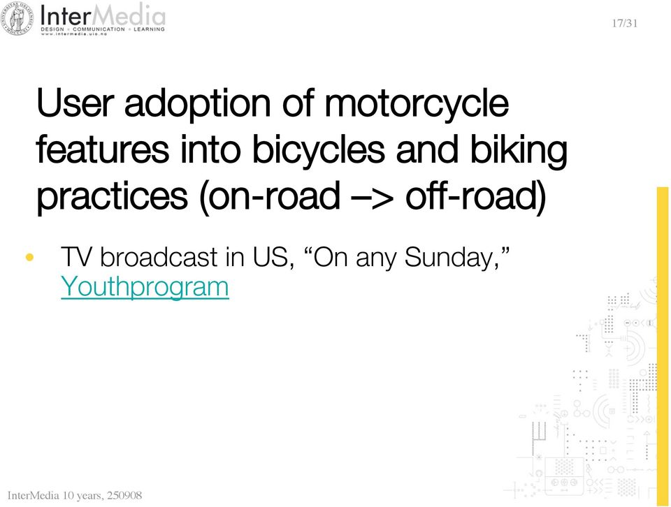 practices (on-road > off-road) TV