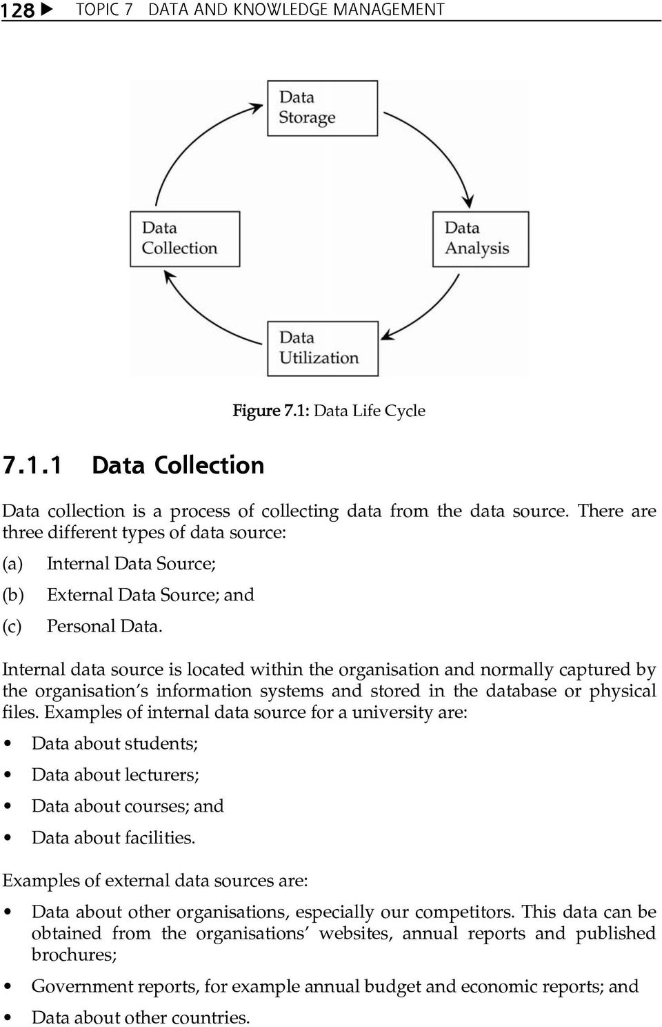 Internal data source is located within the organisation and normally captured by the organisationês information systems and stored in the database or physical files.