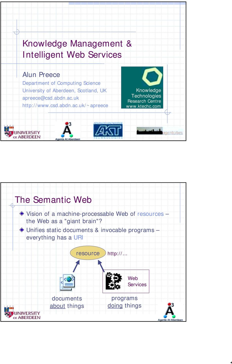 "ktechc.com The Semantic Web Vision of a machine-processable Web of resources the Web as a ""giant brain""?"