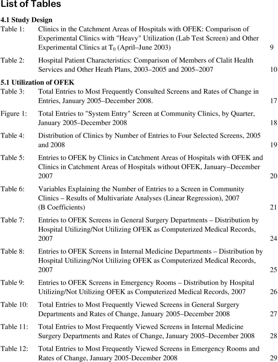 (April June 2003) 9 Table 2: Hospital Patient Characteristics: Comparison of Members of Clalit Health Services and Other Heath Plans, 2003 2005 and 2005 2007 10 5.