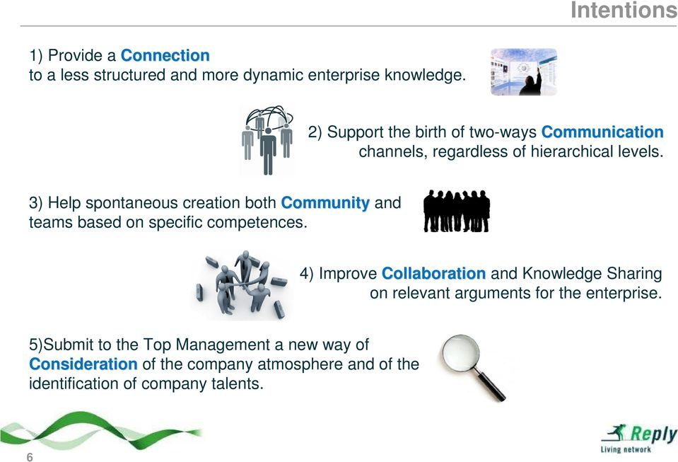 3) Help spontaneous creation both Community and teams based on specific competences.