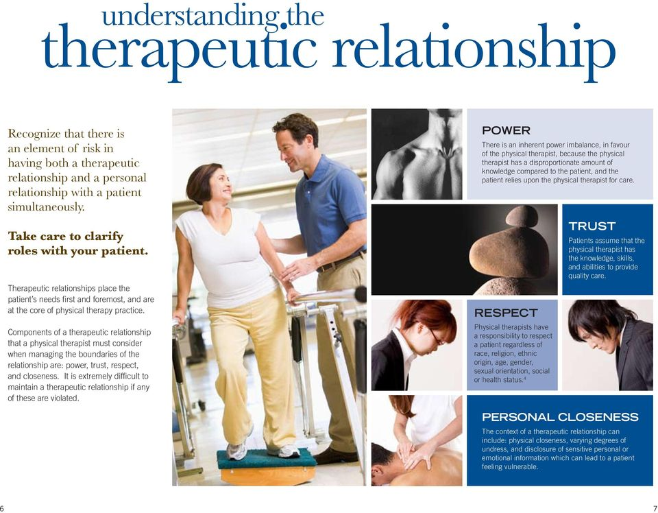 Components of a therapeutic relationship that a physical therapist must consider when managing the boundaries of the relationship are: power, trust, respect, and closeness.