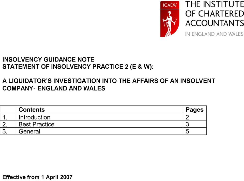 INSOLVENT COMPANY- ENGLAND AND WALES Contents Pages 1.
