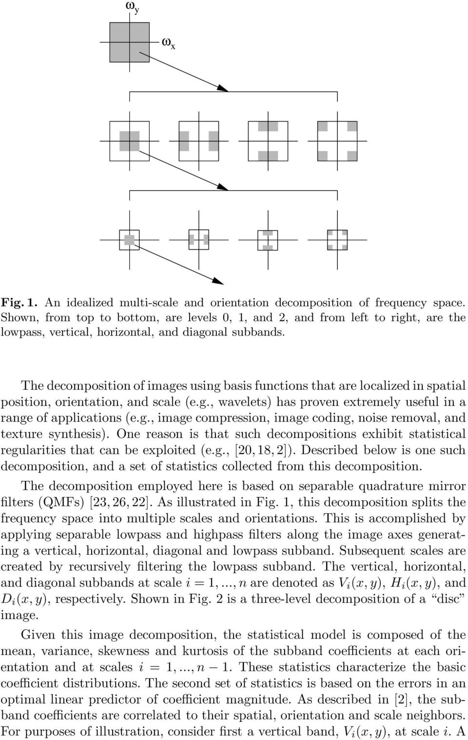 The decomposition of images using basis functions that are localized in spatial position, orientation, and scale (e.g., wavelets) has proven extremely useful in a range of applications (e.g., image compression, image coding, noise removal, and texture synthesis).