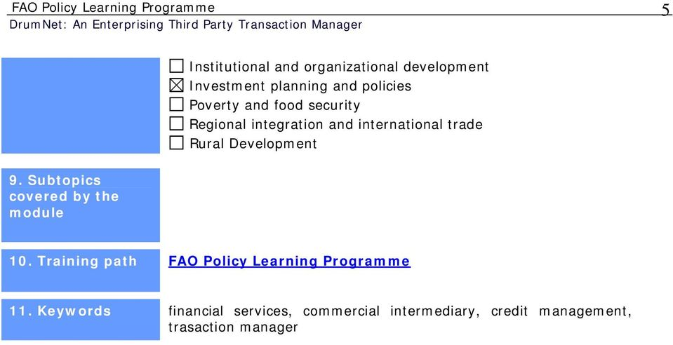 and international trade Rural Development 9. Subtopics covered by the module 10.