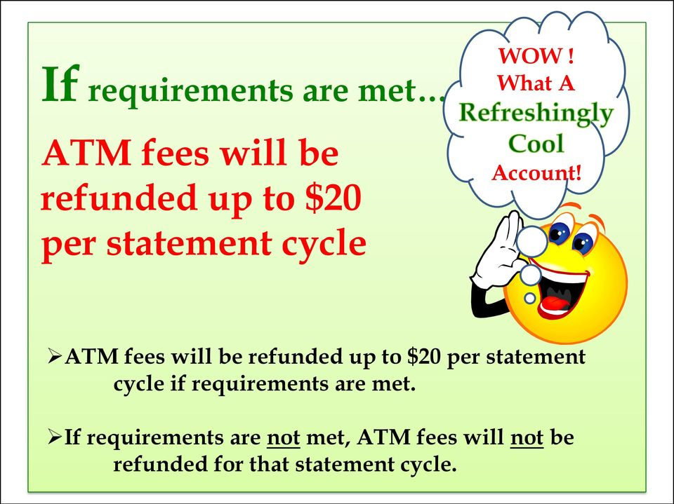 ATM fees will be refunded up to $20 per statement cycle if