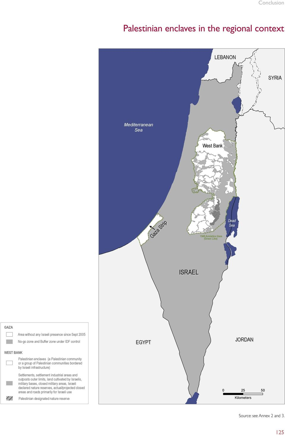 infrastructure) Settlements, settlement industrial areas and outposts outer limits, land cultivated by Israelis, military bases, closed military areas, Israeli declared nature