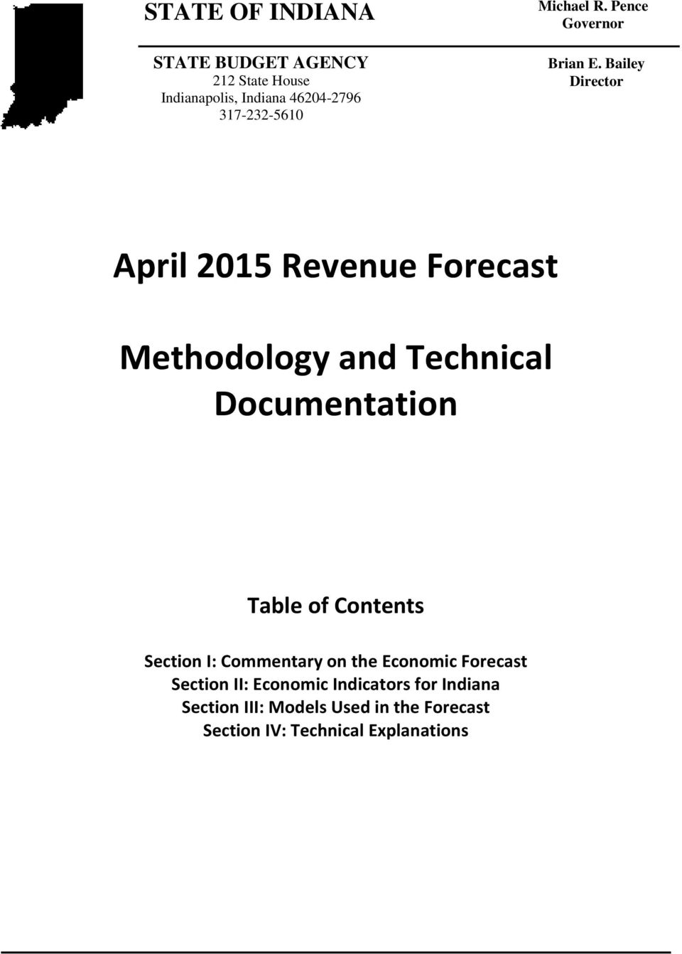 Bailey Director April 2015 Revenue Forecast Methodology and Technical Documentation Table of