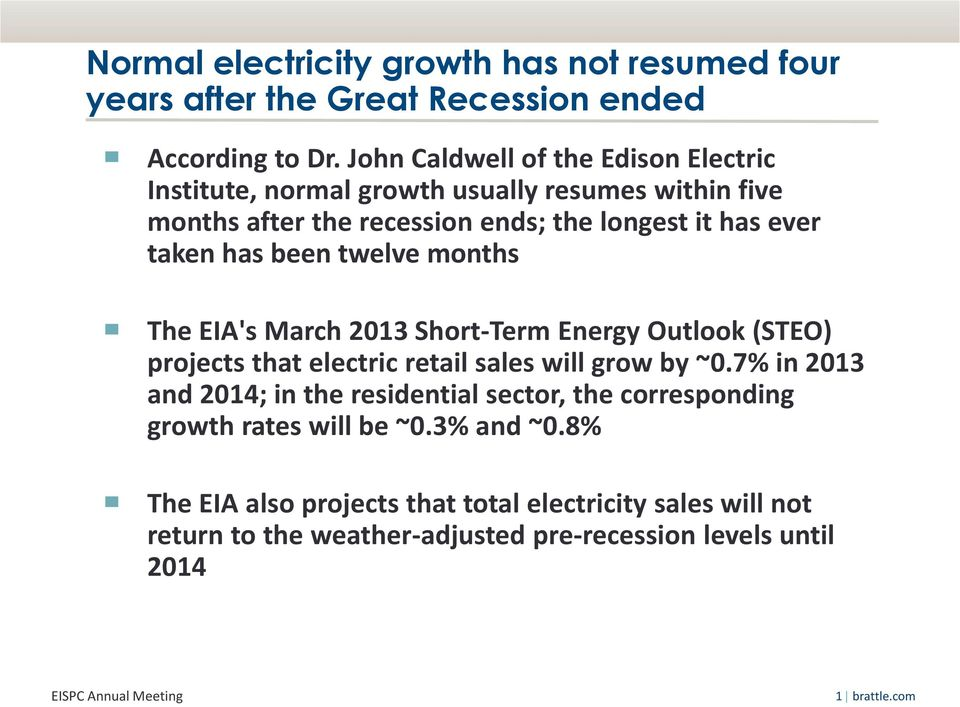 has been twelve months The EIA's March 2013 Short-Term Energy Outlook (STEO) projects that electric retail sales will grow by ~0.