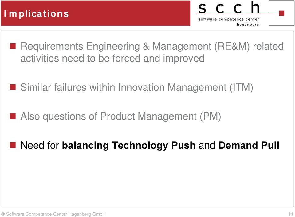 failures within Innovation Management (ITM) Also questions of