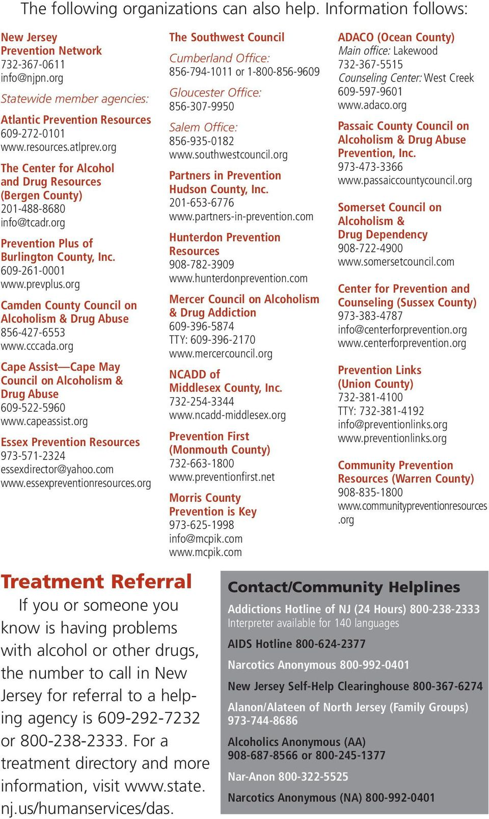 org Camden County Council on Alcoholism & Drug Abuse 856-427-6553 www.cccada.org Cape Assist Cape May Council on Alcoholism & Drug Abuse 609-522-5960 www.capeassist.