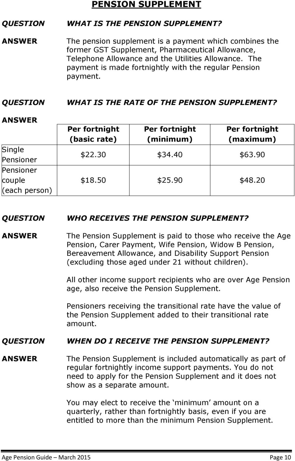 The payment is made fortnightly with the regular Pension payment. Single Pensioner Pensioner couple (each person) WHAT IS THE RATE OF THE PENSION SUPPLEMENT?