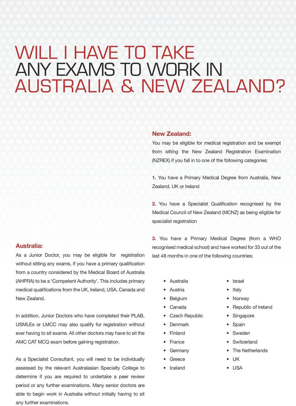 You have a Primary Medical Degree from Australia, New Zealand, UK or Ireland 2.