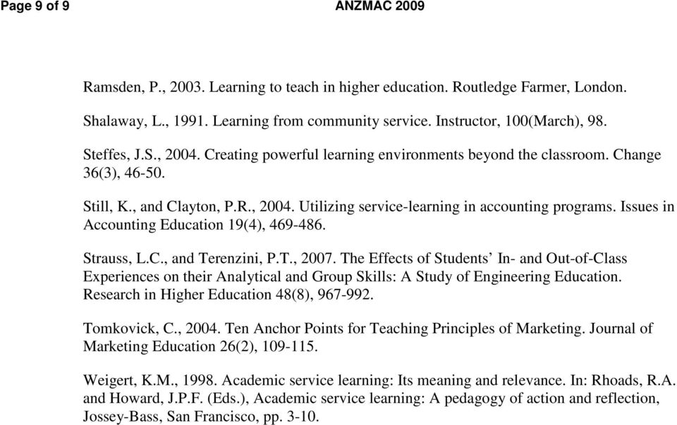 Issues in Accounting Education 19(4), 469-486. Strauss, L.C., and Terenzini, P.T., 2007.