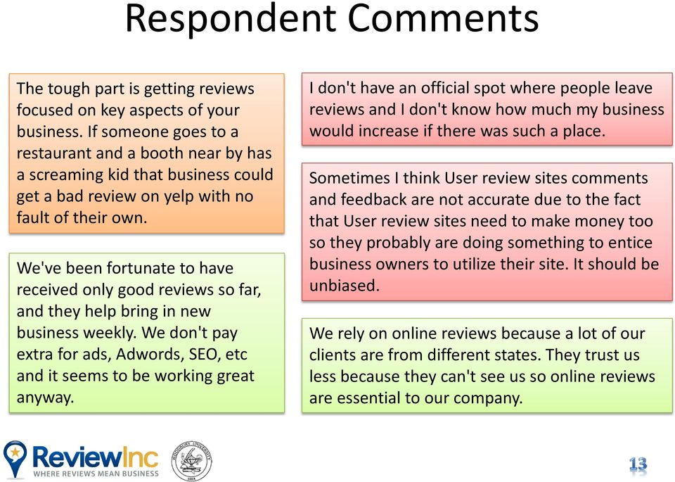 We've been fortunate to have received only good reviews so far, and they help bring in new business weekly. We don't pay extra for ads, Adwords, SEO, etc and it seems to be working great anyway.