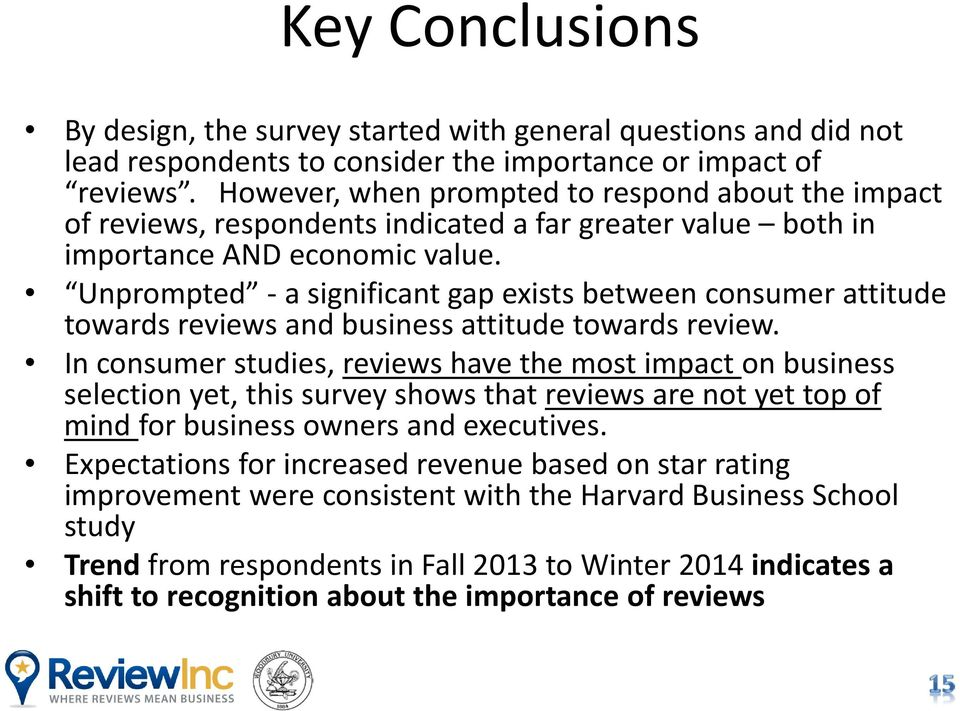 Unprompted - a significant gap exists between consumer attitude towards reviews and business attitude towards review.