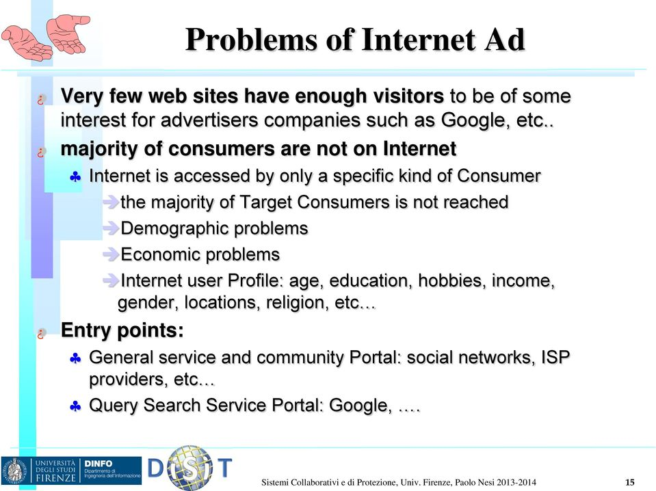 Demographic problems Economic problems Internet user Profile: age, education, hobbies, income, gender, locations, religion, etc Entry points: General