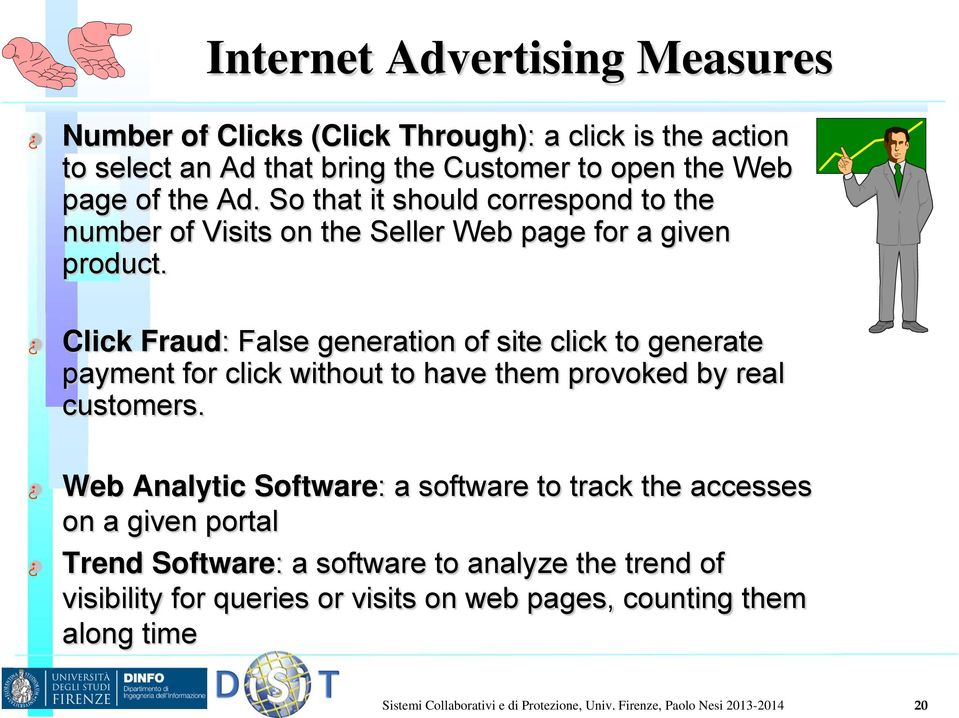 Click Fraud: False generation of site click to generate payment for click without to have them provoked by real customers.