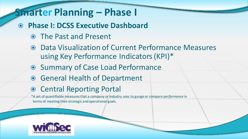 General Health of Department Central Reporting Portal *A set of quantifiable measures that a company