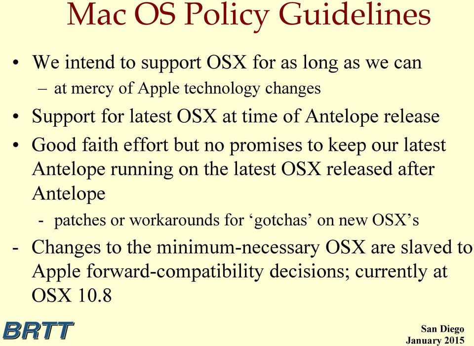 Antelope running on the latest OSX released after Antelope - patches or workarounds for gotchas on new OSX s
