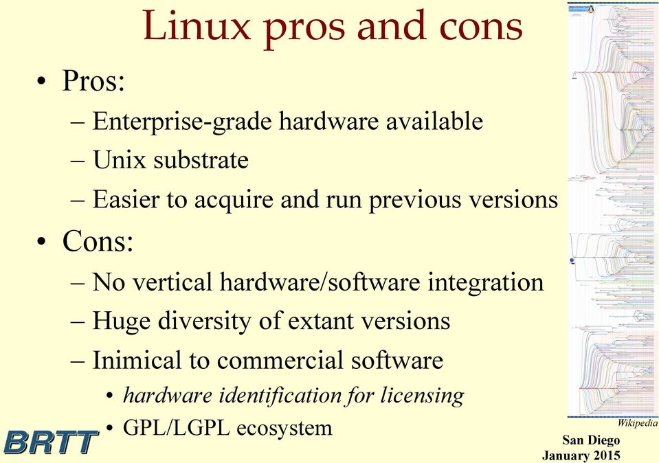 hardware/software integration Huge diversity of extant versions Inimical to