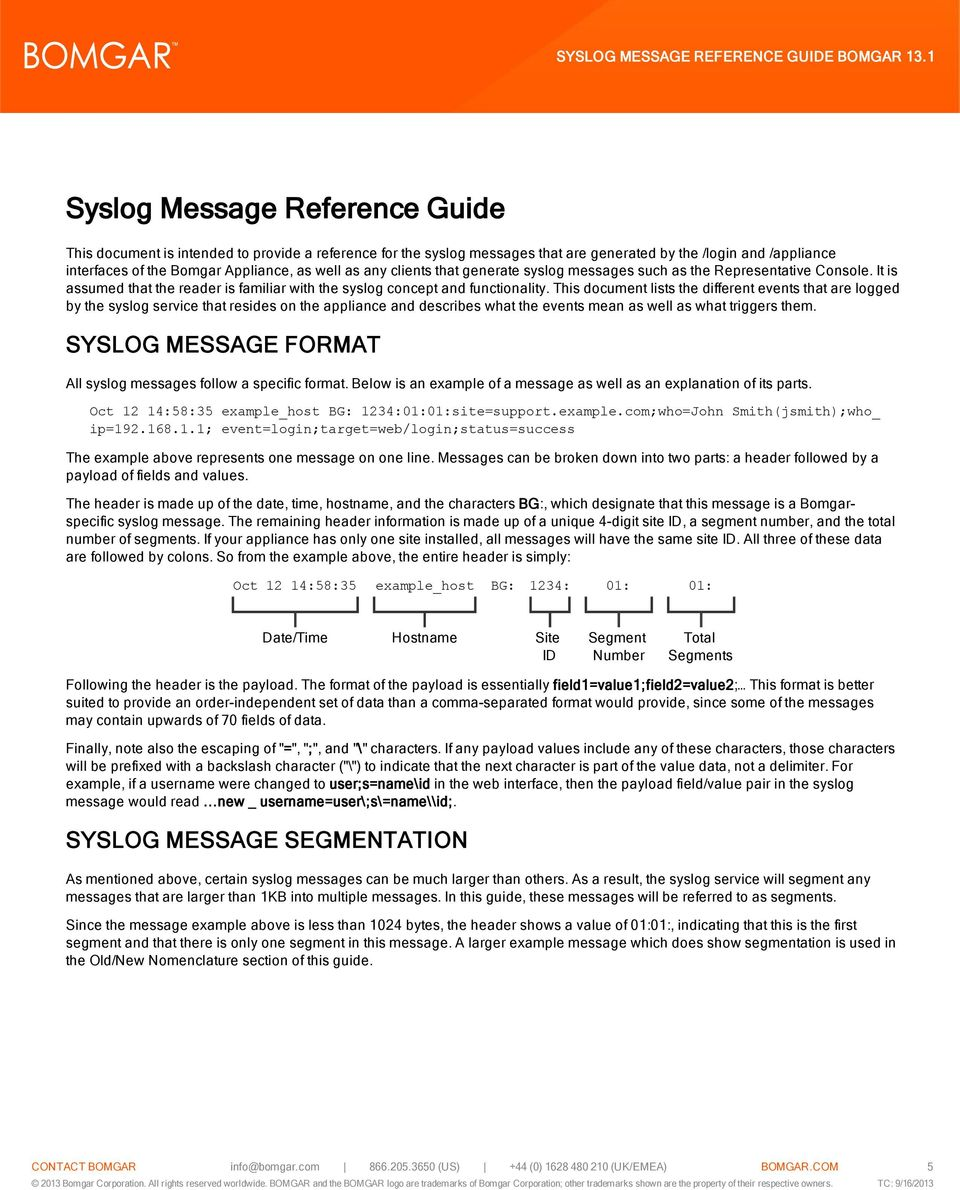 This document lists the different events that are logged by the syslog service that resides on the appliance and describes what the events mean as well as what triggers them.