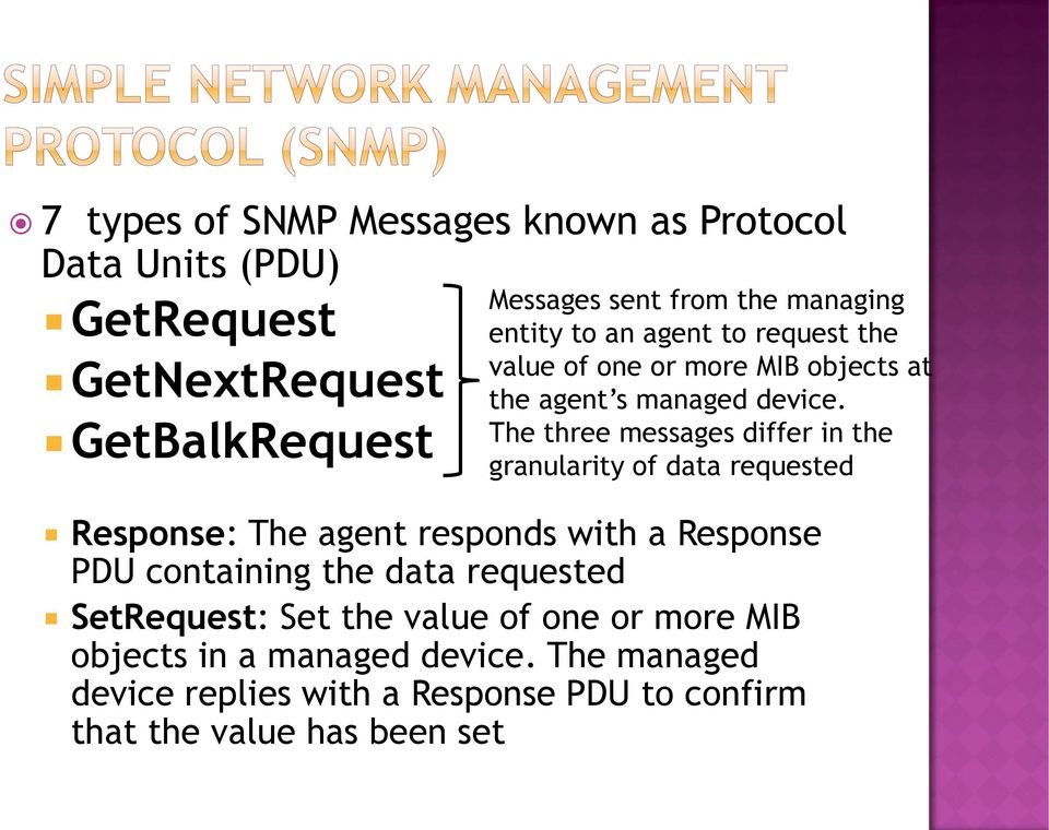 The three messages differ in the granularity of data requested Response: The agent responds with a Response PDU containing the data