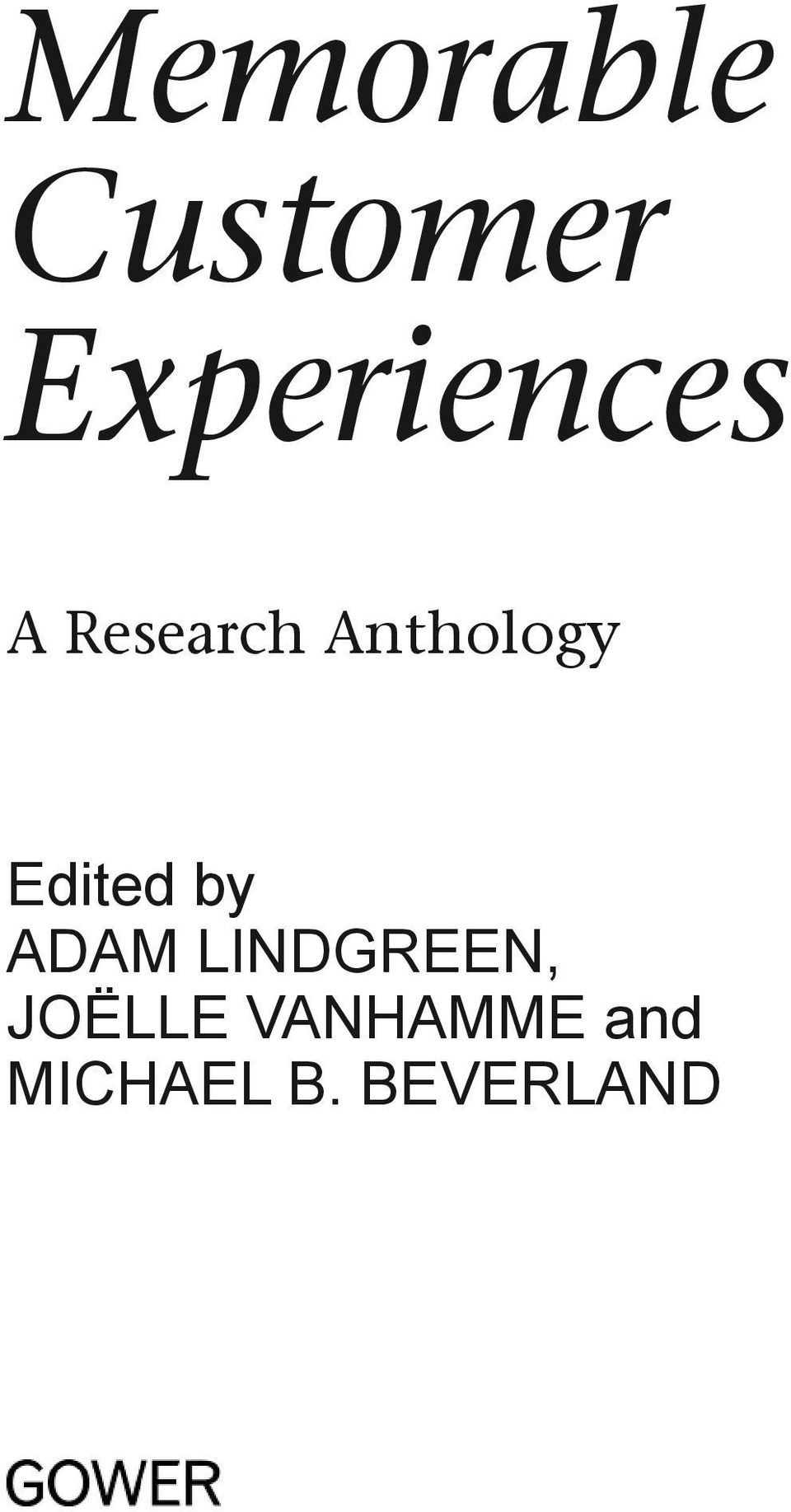 Anthology Edited by Adam