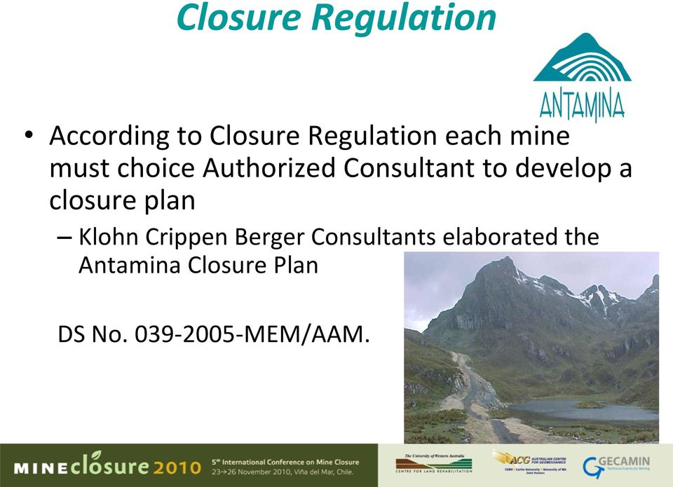 develop a closure plan Klohn Crippen Berger