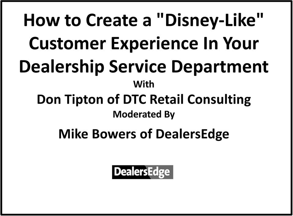Dealership Service Department With