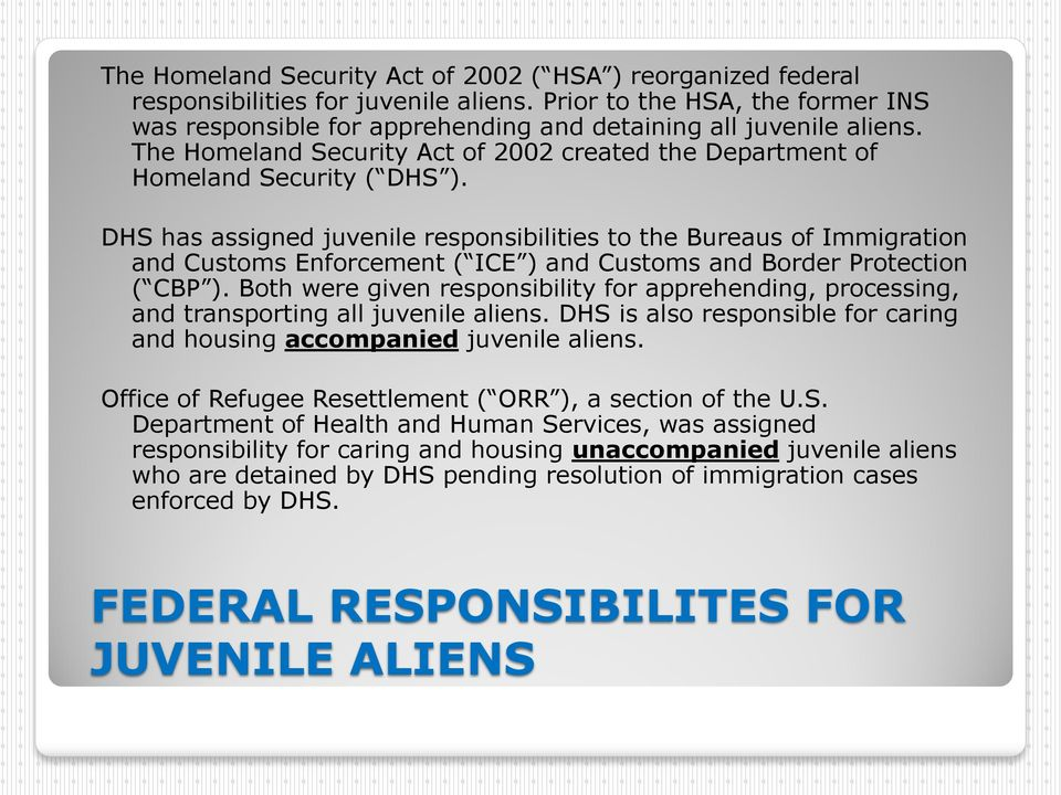 DHS has assigned juvenile responsibilities to the Bureaus of Immigration and Customs Enforcement ( ICE ) and Customs and Border Protection ( CBP ).