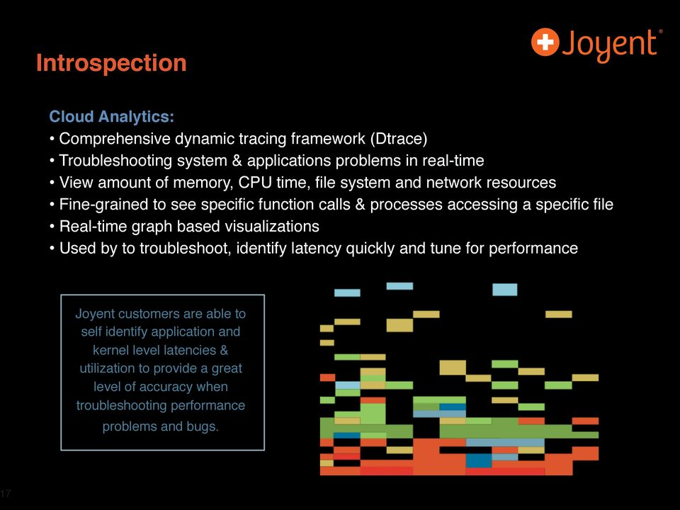 Real-time graph based visualizations Used by to troubleshoot, identify latency quickly and tune for performance Joyent customers are able to self