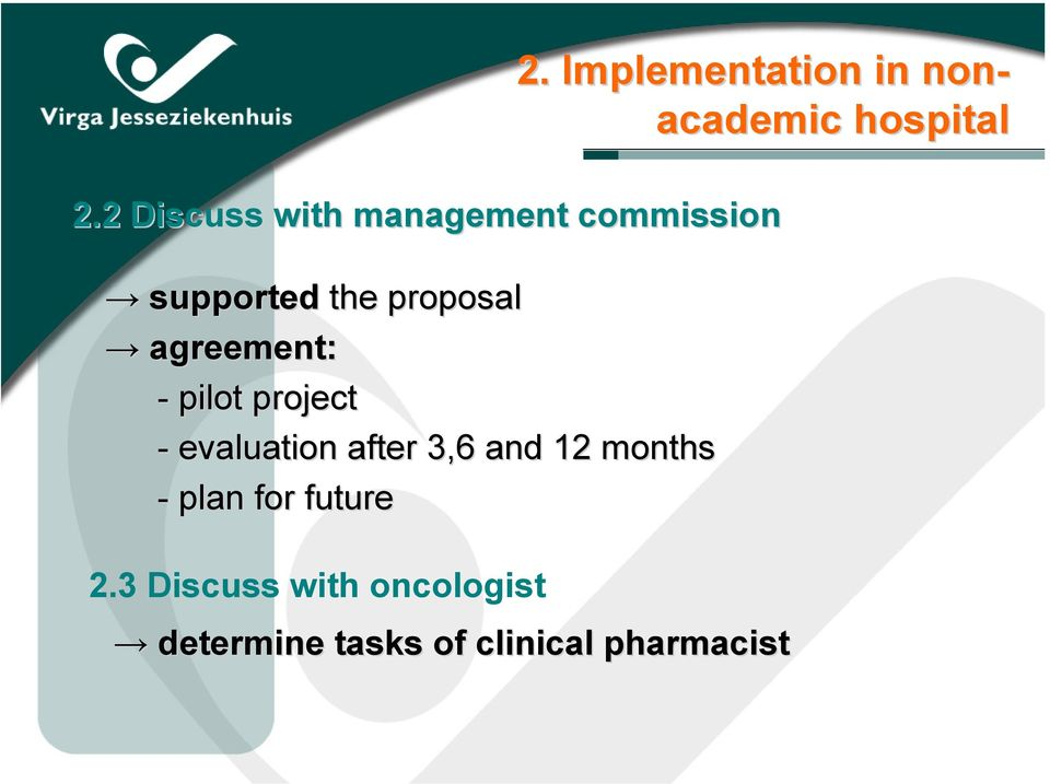 Implementation in non- academic hospital 2.