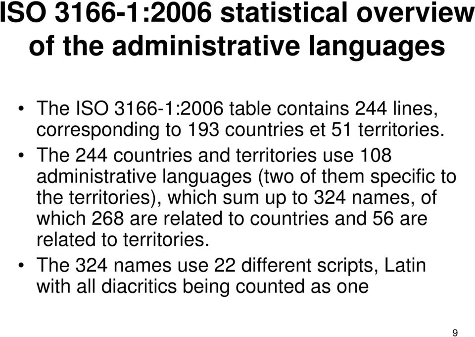 The 244 countries and territories use 108 administrative languages (two of them specific to the territories), which
