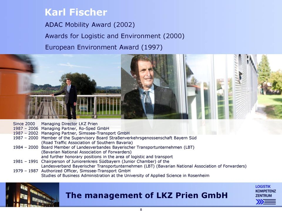 Member of Landesverbandes Bayerischer Transportunternehmen (LBT) (Bavarian National Association of Forwarders) 111 and further honorary positions in the area of logistic and transport 1981 1991