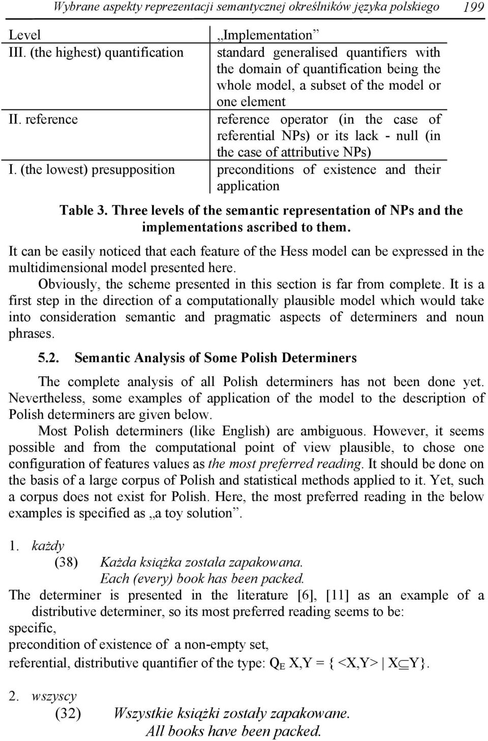 NPs) or its lack - null (in the case of attributive NPs) I. (the lowest) presupposition preconditions of existence and their application Table 3.