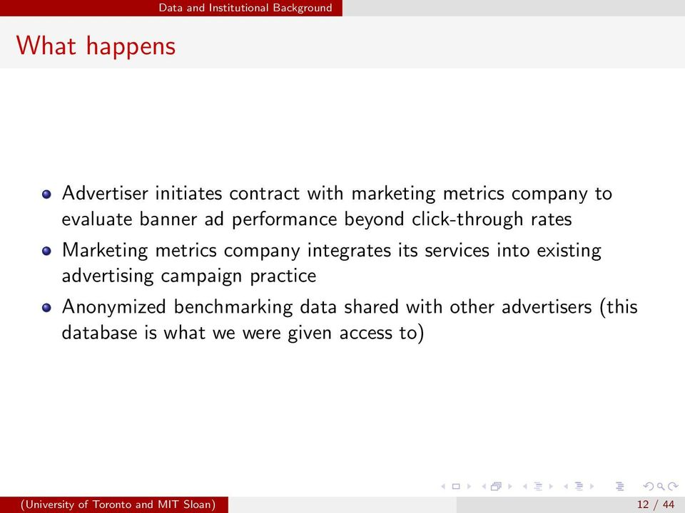 integrates its services into existing advertising campaign practice Anonymized benchmarking data shared