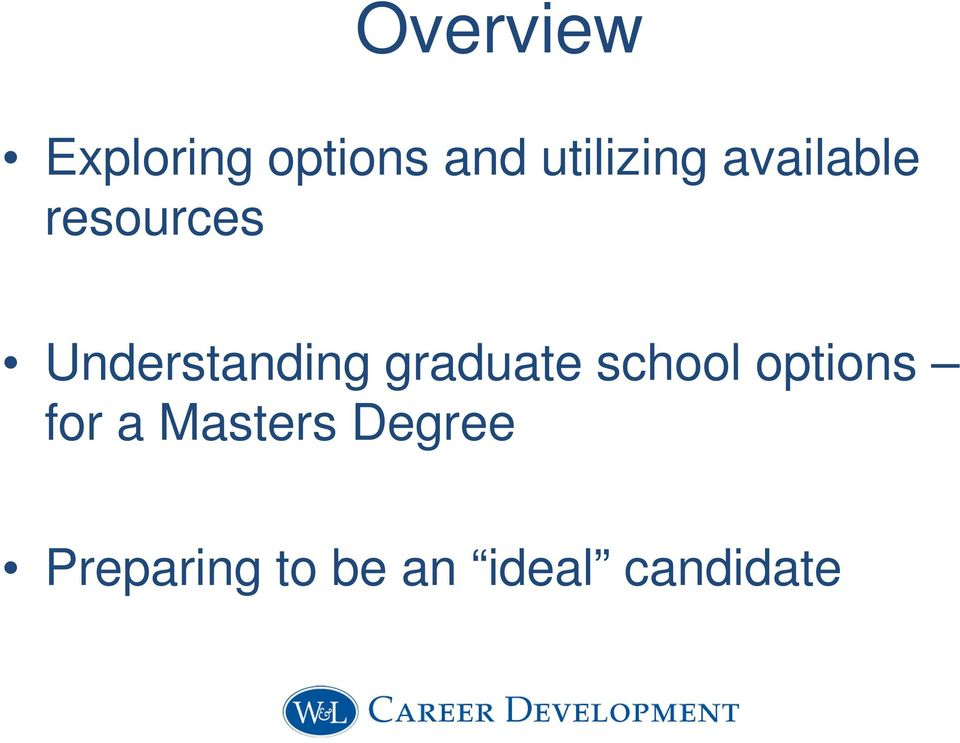 Understanding graduate school options
