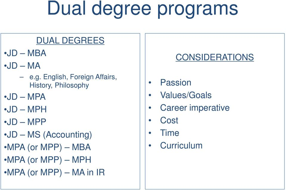 ams JD MBA JD MA DUAL DEGREES e.g.