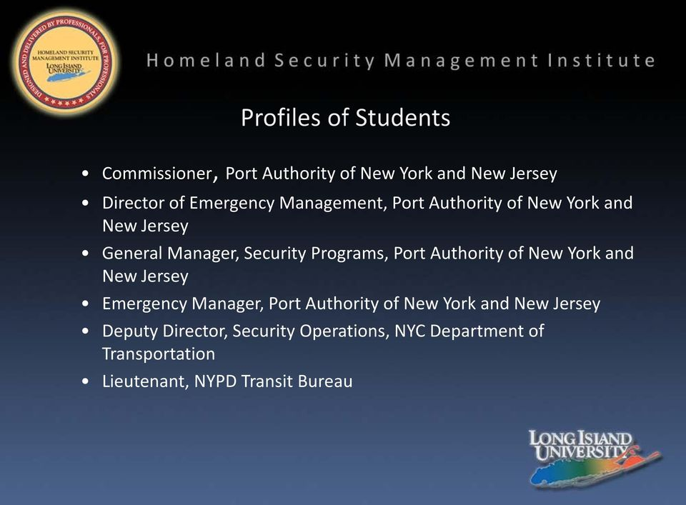 of New York and New Jersey Emergency Manager, Port Authority of New York and New Jersey
