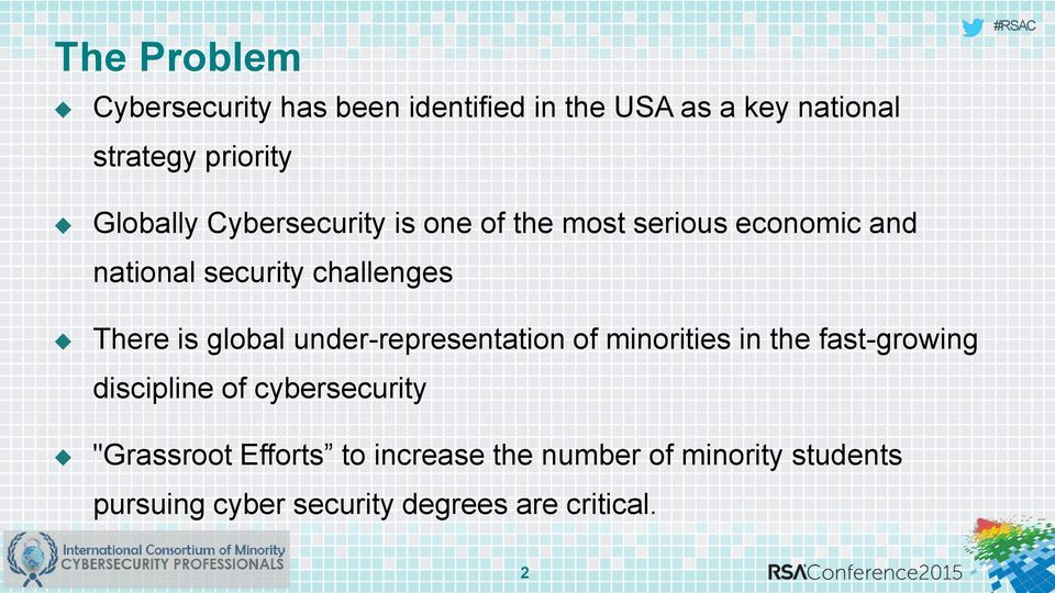 is global under-representation of minorities in the fast-growing discipline of cybersecurity