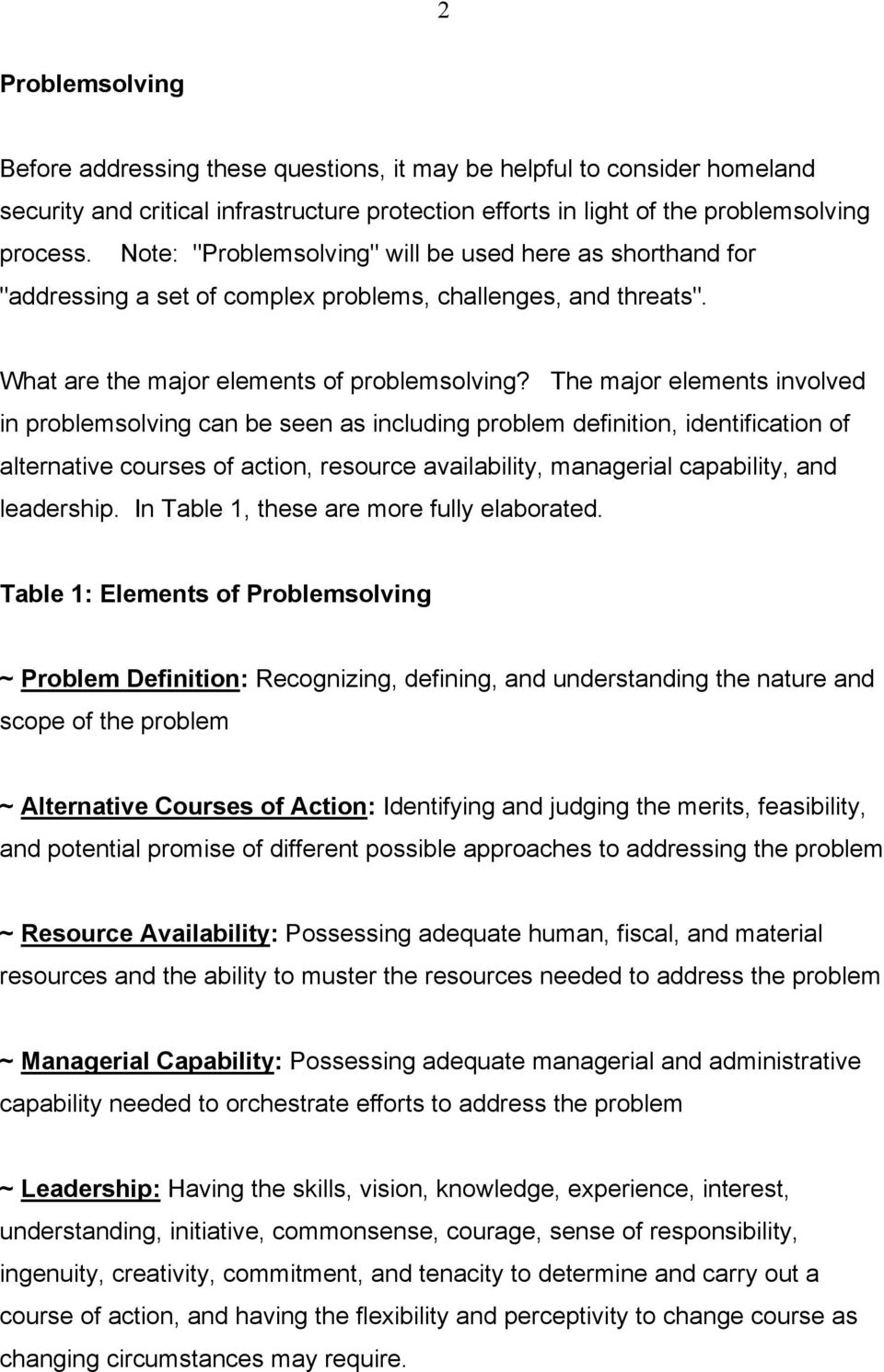 The major elements involved in problemsolving can be seen as including problem definition, identification of alternative courses of action, resource availability, managerial capability, and