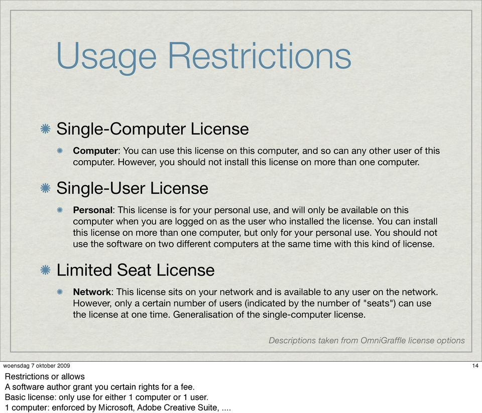 Single-User License Personal: This license is for your personal use, and will only be available on this computer when you are logged on as the user who installed the license.