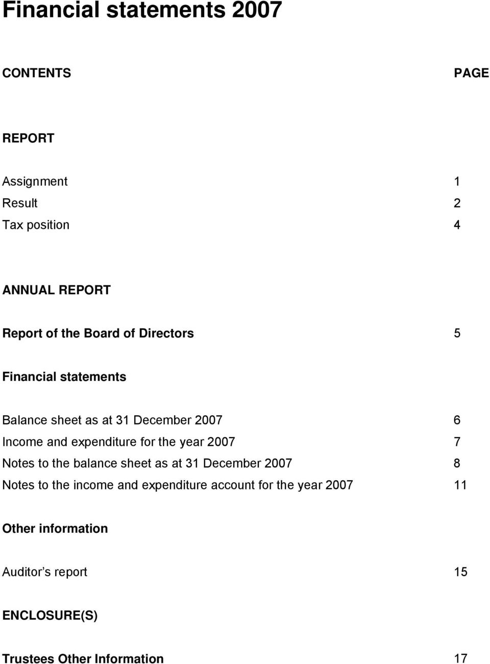for the year 2007 7 Notes to the balance sheet as at 31 December 2007 8 Notes to the income and expenditure