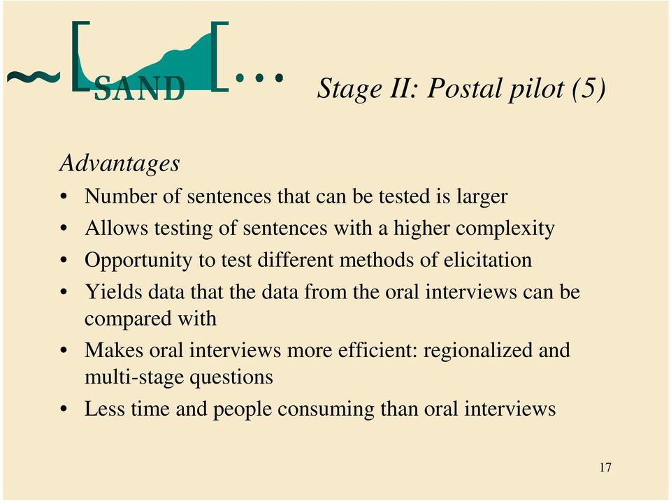 Yields data that the data from the oral interviews can be compared with Makes oral interviews more